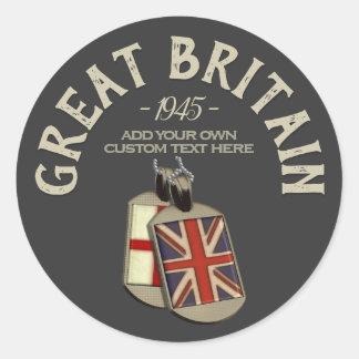 Großbritannien-Englisch-Erkennungsmarken Runder Aufkleber