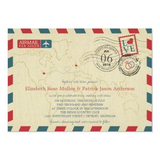 Großbritannien-/Michiganusa Luftpost Wedding | 12,7 X 17,8 Cm Einladungskarte