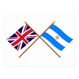 Großbritannien und Argentinien gekreuzte Flaggen Postkarte