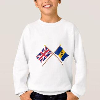 Großbritannien und Barbados gekreuzte Flaggen Sweatshirt