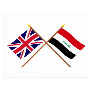 Großbritannien und der Irak gekreuzte Flaggen Postkarte