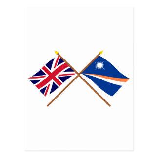 Großbritannien und die Marshallinseln gekreuzte Postkarte