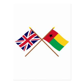 Großbritannien und Guinea-Bissau gekreuzte Flaggen Postkarte