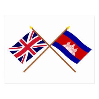Großbritannien und Kambodscha gekreuzte Flaggen Postkarte