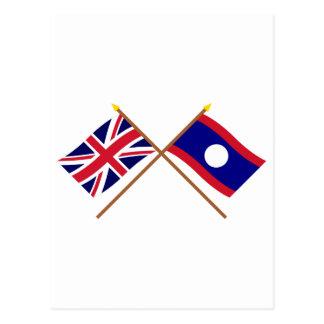 Großbritannien und Laos gekreuzte Flaggen Postkarte