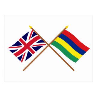 Großbritannien und Mauritius gekreuzte Flaggen Postkarte