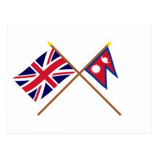 Großbritannien und Nepal gekreuzte Flaggen Postkarte