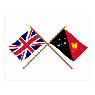 Großbritannien und Papua-Neu-Guinea gekreuzte Postkarte