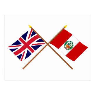 Großbritannien und Peru gekreuzte Flaggen Postkarte