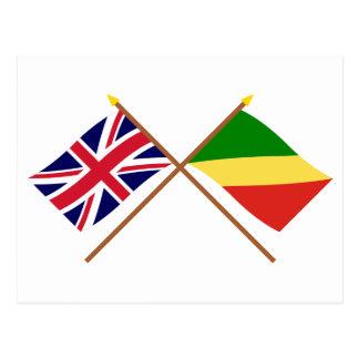 Großbritannien und Republik Kongo gekreuzte Postkarte