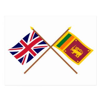 Großbritannien und Sri Lanka gekreuzte Flaggen Postkarte