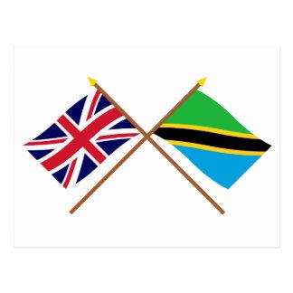 Großbritannien und Tansania gekreuzte Flaggen Postkarte
