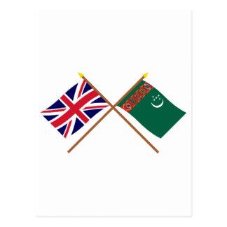 Großbritannien und Turkmenistan gekreuzte Flaggen Postkarte