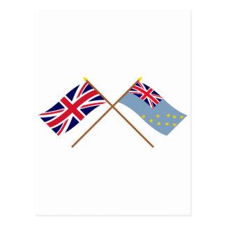 Großbritannien und Tuvalu gekreuzte Flaggen Postkarte