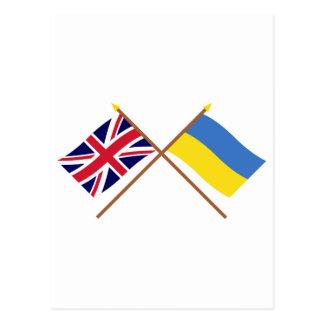 Großbritannien und Ukraine gekreuzte Flaggen Postkarte