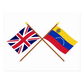 Großbritannien und Venezuela gekreuzte Flaggen Postkarte