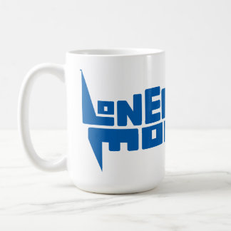 Große 444-ml-weiße Tasse mit blauem Logo