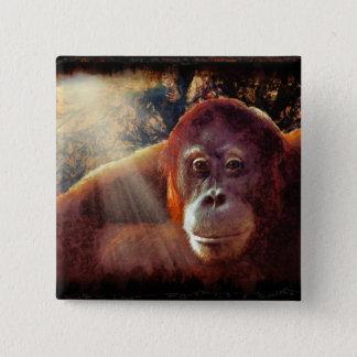 Große Affen-Primat Tier-Liebhaber Geschenk Quadratischer Button 5,1 Cm