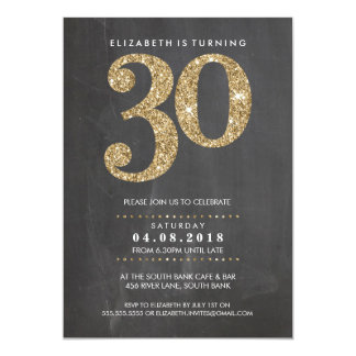 GROSSE ALTERS-ZAHL LADEN modernen Glitter des Gold 12,7 X 17,8 Cm Einladungskarte