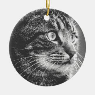 Große Augen des Tabby-Profil-    Schwarzweiss Keramik Ornament