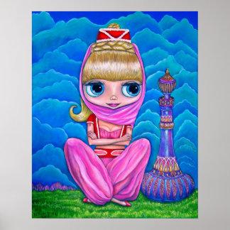Große Augen-Geist-Puppen-Bauchtänzerin mit Poster