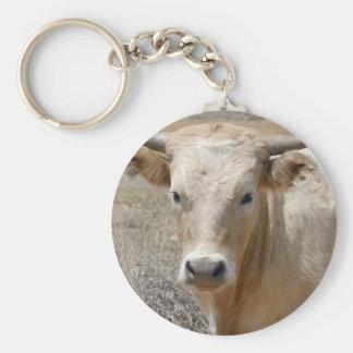 Große Augen-weißes Charolais-Vieh - Western Schlüsselanhänger