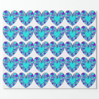 Große beflecktes Glas-Herzen im Türkis und lila Geschenkpapier