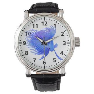 Große blaue Betta kämpfende Fisch-Uhr Armbanduhr