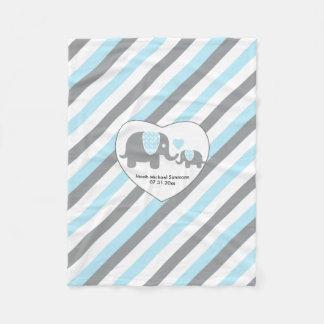 Große blaue, graue und weiße Streifen-Elefanten Fleecedecke