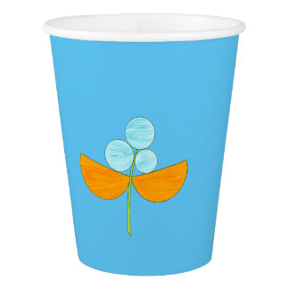 Große blaue und orange Watercolor-Blume Pappbecher