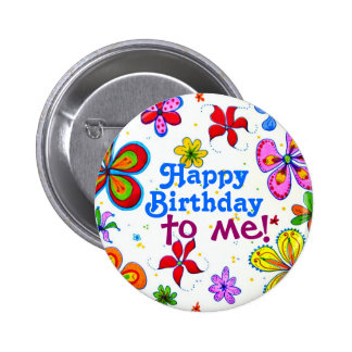 Große Blumen-alles Gute zum Geburtstag zu mir Anstecknadelbuttons