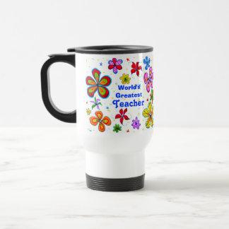 Große Blumen, der Lehrer-Schablonen-Tasse der Welt Reisebecher