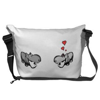 Große Bote-Taschen-äußerer Druck - Flusspferd in Kurier Tasche