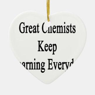 Große Chemiker behalten das Lernen täglich Keramik Herz-Ornament