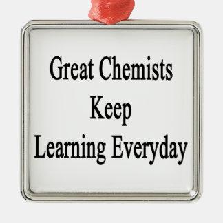 Große Chemiker behalten das Lernen täglich Quadratisches Silberfarbenes Ornament