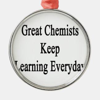 Große Chemiker behalten das Lernen täglich Rundes Silberfarbenes Ornament