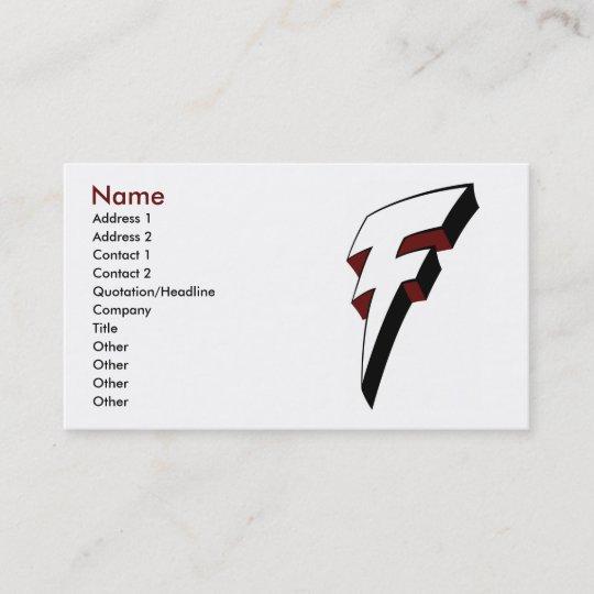 Große F Blitz Bolzen Visitenkarte Schablone Visitenkarte