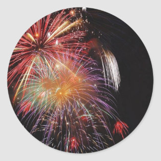 Große Feuerwerks-Nacht Runder Aufkleber