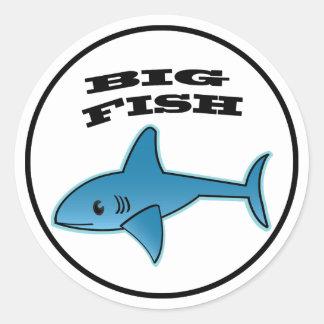 Große Fische - klassischer runder Aufkleber, Runder Aufkleber