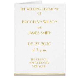 Große Gatsby Hochzeit programmiert Goldweiß Karte