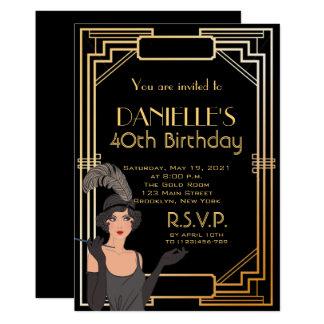 Große Gatsby inspirierte 12,7 X 17,8 Cm Einladungskarte