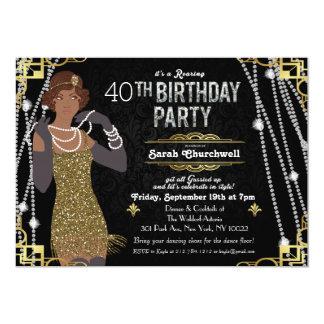 Große Gatsby Kunst-Deko-Geburtstags-Einladung 12,7 X 17,8 Cm Einladungskarte