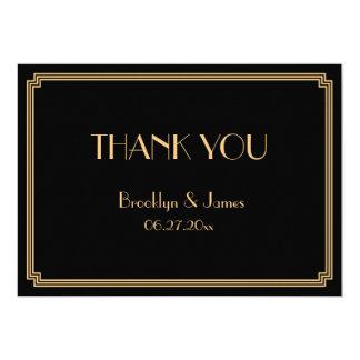 Große Gatsby Kunst-Deko-Schwarz-Hochzeit danken 12,7 X 17,8 Cm Einladungskarte