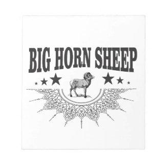 große gehörnte Schafe der Jagd Notizblock