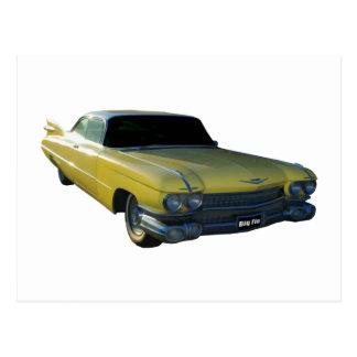 Große gelbe Flosse 59 Cadillac Postkarte