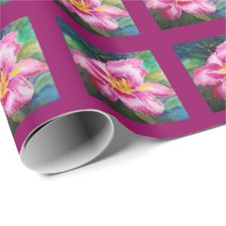 Große glänzende rosa Blume Geschenkpapier