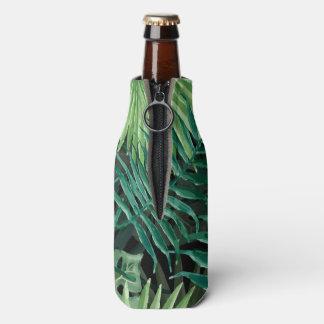 Große grüne Farn-Palme und Monstera tropische Flaschenkühler