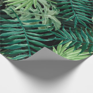 Große grüne Farn-Palme und Monstera tropische Geschenkpapier