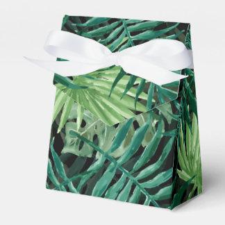 Große grüne Farn-Palme und Monstera tropische Geschenkschachtel
