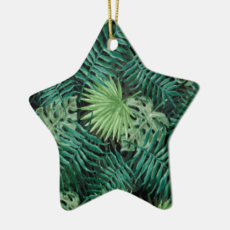 Große grüne Farn-Palme und Monstera tropische Keramik Ornament